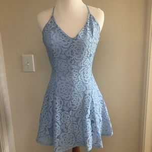 Light Blue Lace A-line Dress with Cross Racerback